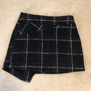 BCBGeneration Asymmetrical Plaid Mini Skirt